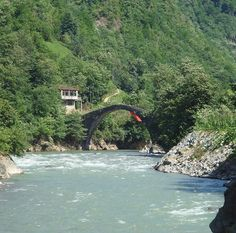 The historic arch bridge on the road of Ayder Platou at Rize
