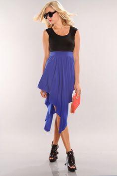 Royal Blue Black Cutout Detail Uneven Hem Dress