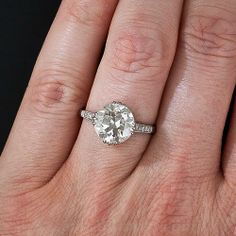 3.18 Carat European-Cut Diamond Solitaire - 10-1-6231 - Lang Antiques
