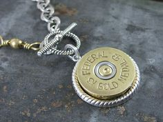 Handmade Spark - The Key of A - Shotgun Casing Jewelry - Bullet Casing Jewelry - Authentic Federal Gold Medal 12 Gauge Shotgun Shell Medallion Mixed Metal Necklace