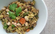 Packed with spring veggies and scrambled tofu, this version of fried rice is made grain-free by substituting rice with cauliflower rice.