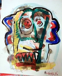 Portrait Mann Art brut Pop Art 45 * 40 cm Acryl auf Aquarellpapier
