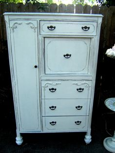 Shabby Chic Distressed Linen White by antique2chic on Etsy, $450.00