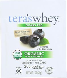 Teras Whey Protein Powder - Whey - Organic - Wild Blueberry - 1 Oz - Case Of 12 Organic Whey Protein, Whey Protein Powder, Protein Power, Wild Blueberries, 1 Oz, Blueberry, Pure Products