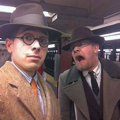 Post dinner subway shenanigans. #vintage #retro #1930s #1940s #1950s #fedoras #hats #overcoats #ties #shenanigans