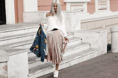 Get this look: http://lb.nu/look/8561349  More looks by Kristina Dolinskaya: http://lb.nu/kristina_doli  Items in this look:  Simplee Apparel White Knitted Offshoulder Sweater, Simplee Apparel Pink Pleated Skirt, Simplee Apparel Embroidered Denim Jacket   #casual #chic #street