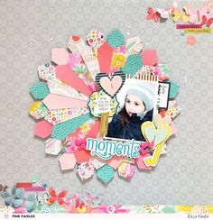 A quilt-inspired design is all you need to incorporate lots of patterns and colors into your projects. @pinkpaislee #ppturnthepage #quilt #scrapbooking #layout