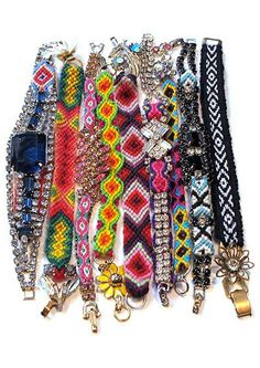Friendship bracelets and rhinestones and vintage findings