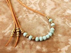 Mint / Seafoam Green Necklace w/ African Brass Beads - Ethnic Jewelry Tribal Jewelry Boho Jewelry Bohemian Jewelry - Suede Leather Necklace