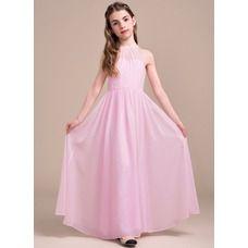A-Line/Princess Scoop Neck Floor-Length Ruffle Zipper Up Regular Straps Sleeveless No Candy Pink General Chiffon Junior Bridesmaid Dress