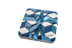6 Blue Coasters Geometric coasters Retro coasters Art Deco coasters Vintage coaster Square Coasters Modern Blue Coasters Gift for her by EInderDesigns on Etsy