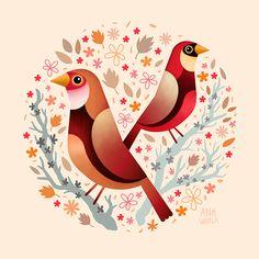 Bellas, coloridas y delicadas ilustraciones de Ana Varela desde la ciudad de A CoruñaenEspaña titulada simplemente 'Birds' y esta dedicada a diferentes tipos de aves.Ana Varela