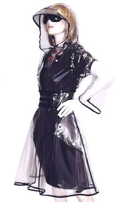 Transparent contrast stitch raincoat