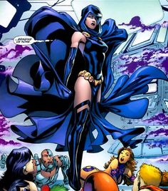 Evil Raven. Doesn't she rock? This was when Raven was taken over by Trigon and was evil. She also ended the world.