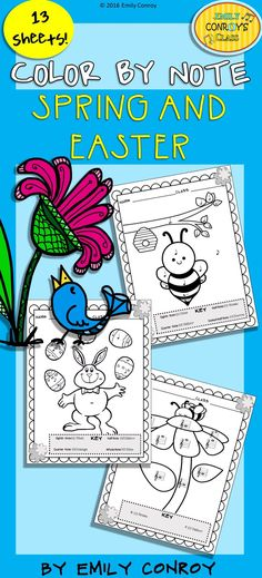 Color by Note (Spring/Easter)-13 Color by Note sheets that include various combinations of quarter notes, eighth notes, half notes, dotted half notes, and whole notes. 3 of the sheets even have a connect-the-dot twist where students count by 2's, 5's, and 10's! Great way to integrate math into music.