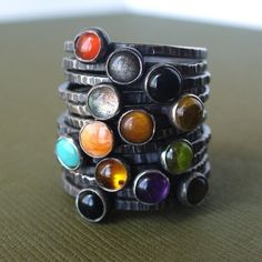 Sterling Silver Stackable Ring Set - Pick 7 - Your choice of any 4mm gemstones: carnelian, red coral, orange shiny oyster shell, pink mussel shell, pink coral, black onyx, amber, garnet, amethyst, tigereye, peridot, jade, iolite, aquamarine, citrine, silver obsidian, labradorite, turqouise, or mother of pearl. $172.00 #jewelry #gemstone #ring