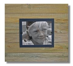 """Wood Frame-  Reclaimed Wood XL w/ Navy backboard. 20""""x 22"""" with 8x10 picture.  Hangs only. FS-RC4-NVY by beachframeslld on Etsy"""