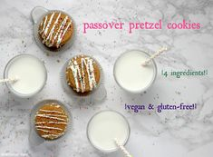 Gluten-free, vegan and a mere 4 ingredients? Passover pretzel cookies are all that (and more)! Dark Chocolate Chips, Melting Chocolate, Wheat Free Baking, Dairy Free Spread, Gluten Free Pretzels, Pretzel Cookies, Pretzel Rods, 4 Ingredients, Food Processor Recipes