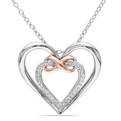 Amour Collection Two-tone Silver Diamond Heart Pendant (0.01 Cttw, H-I Color, I2-I3 Clarity), 18'