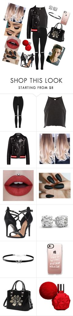 """""""Red and Black"""" by annaconley on Polyvore featuring Topshop, River Island, Miu Miu, Chinese Laundry, Giani Bernini, Casetify and ULTA"""