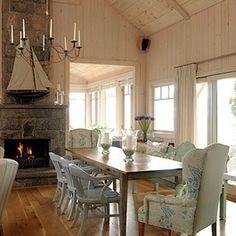 Sarah Richardson Design - Sarah's Cottage/Summer House (Dining Room and Lounge) Sarah Richardson, Sara Richardson Design, Cottage Dining Rooms, Blue Dining Room Chairs, Dining Area, Wing Chairs, Wingback Chairs, Blue Chairs, Mismatched Chairs