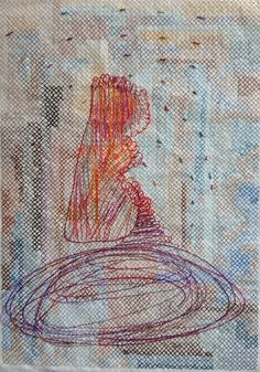 Kjmrarely ( Thread on paper Contemporary embroidery Contemporary Embroidery, Contemporary Art, Hand Stitching, Abstract Art, Cross Stitch, Drawings, Paper, Stitches, Prints