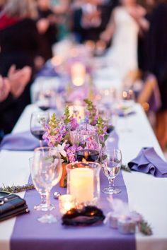 Lavender Sprigs - The Frosted Petticoat  white linens lavender runner & napkins