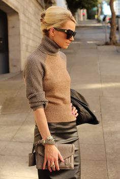 loving this look for fall - turtleneck + gold accessories + leather.