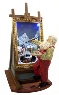 Santa Claus Painting LED Light Moving Resin Christmas Figurine, 10 3/4 Inch -- Awesome products selected by Anna Churchill