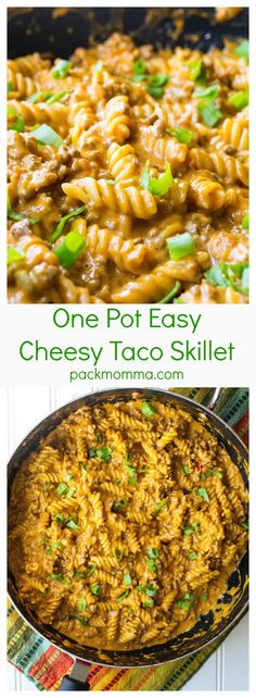 One Pot Easy Cheesy Taco Skillet | One Pot Easy Cheesy Taco Skillet is the perfect combination of spicy meat, creamy cheese and tender pasta. Great for busy weeknights! | Pack Momma | www.packmomma.com
