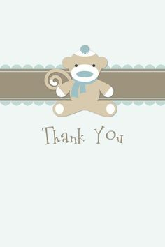 Sock Monkey Thanks - Boy TEMPLATE: 120170 By Roxanne Buchholz 4 x 6 Greeting Card  Send out these adorable thank you cards for all the wonderful baby gifts that you received.