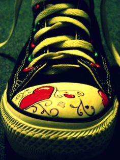 Converse Hearts by totalizzyness on DeviantArt Cool Converse, Studded Converse, Converse Tennis Shoes, Converse Sneakers, Converse All Star, Casual Sneakers, Painted Converse, Vans Shoes, Sock Shoes