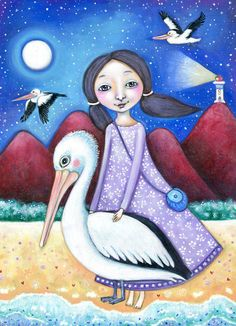 Girl and Pelican wall art Pelican animal guide Totem Magic Pelican Art Painting Girls room wall decor Children's room Art gift for friend