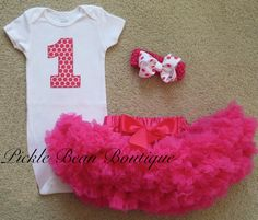 1st Birthday Girl Outfit Ready To Ship Hot Pink Candy Polka