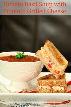 Tomato Basil Soup with Grilled Pimento Cheese Sandwiches, Low Calorie, Low Fat Dinner - Pin it to your Dinner board