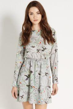 nueva moda qz1682 señoras impresión aves elegante floral vestido vintage o cuello manga larga casual noche delgado marca fiesta vestido en Vestidos de Moda y Complementos en AliExpress.com | Alibaba Group