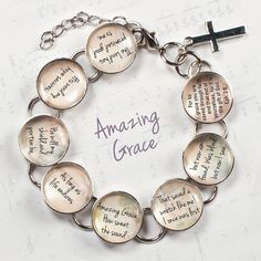 "Amazing Grace Hymn & Scripture Glass Charm Bracelet, 6.75""-8.75"""