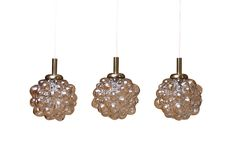 Three Amber Bubble Pendants by Helena Tynell for Limburg Glass - Dering Hall (=)