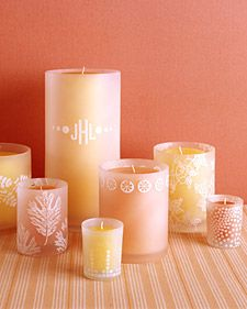 LOVE this idea for candles that are around the table or on outside tables like where the place cards and stuff go!