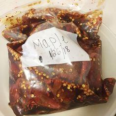 Maple Beef Jerky Picture of Marinade & Marinate Jerky Seasoning Recipe, Chicken Jerky Recipe, Venison Jerky Recipe, Smoked Beef Jerky, Best Beef Jerky, Homemade Beef Jerky, Jerky Recipes, Dehydrator Recipes Jerky, Maple Beef Jerky Recipe