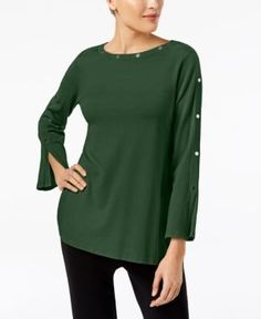 Alfani Embellished Pullover Sweater, Created for Macy's - Green XXL