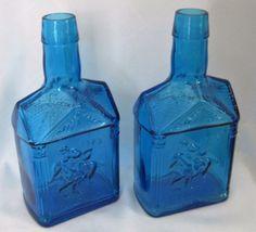 Vtg Blue Bottles Paul Revere Mary Wheaton Pancake Syrup Glass Decor Lot of 2