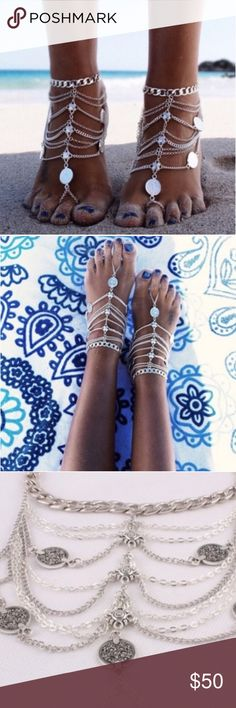Set of 2! Foot Jewelry Stunningly Gorgeous Foot Jewelry!! Set of 2!!! Adjustable around ankle to fit all ankle and Foot sizes! Perfect for at the Beach, Pool Party, or a Wedding on the sand! Jewelry Bracelets