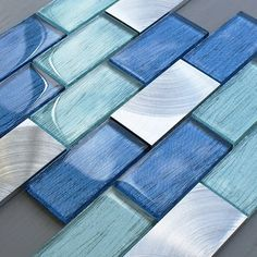 Portland Blue Brick mosaic x Blue Glass Tile, Glass Tile Bathroom, Blue Mosaic Tile, Glass Brick, Kitchen Wall Tiles, Grey Glass, Blue Tiles, Mosaic Glass, Master Bathroom
