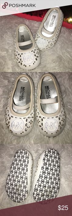Baby girl MK dress shoes These white leather soft bottom shoes are to die for! My little girl wore them a handful of times! Great condition! Smoke and pet free home. KORS Michael Kors Shoes Baby & Walker