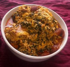 Photo of A plate of tasty egusi soup Egusi Soup Recipes, Goat Meat, Pumpkin Leaves, Smoked Fish, Cooking Spoon, Yams, Palak Paneer, Plate, Tasty