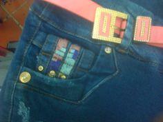 #moda de #bolsillos bordados #pantalon para #mujer