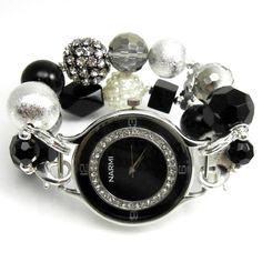 Black beaded watch