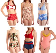 vintage retro swim suits and bikinis...LOVE the floral patterned one