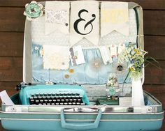 Awesomeness times 10!  Vintage suitcase sign-in station and gift card holder for a wedding.  at #CratePaperBlog